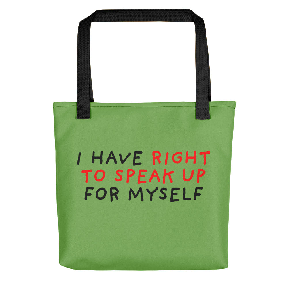 Right to Speak Up | Green | Tote Bag-tote bags-Black-Eggenland