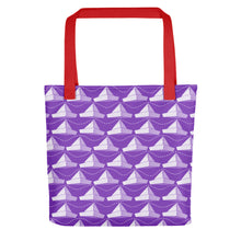Load image into Gallery viewer, Newspaper Hats Pattern | Violet | Tote Bag-tote bags-Red-Eggenland