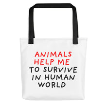 Load image into Gallery viewer, Animals Help Me | Tote Bag-tote bags-Black-Eggenland