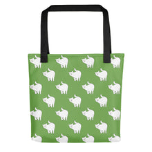 Load image into Gallery viewer, Cute Cat Pattern | Green and White | Tote Bag-tote bags-Black-Eggenland