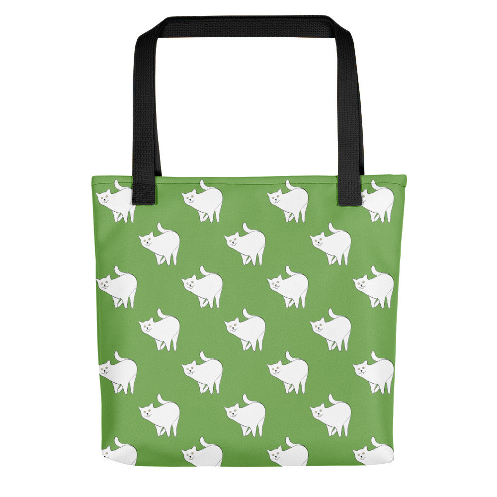 Cute Cat Pattern | Green and White | Tote Bag-tote bags-Black-Eggenland