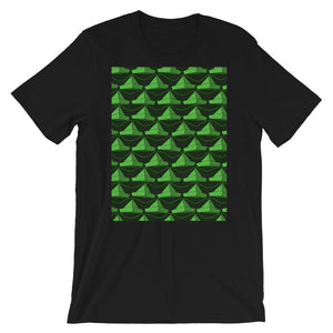 Paper Hats Pattern | Green | Short-Sleeve Unisex T-Shirt-t-shirts-Black-S-Eggenland