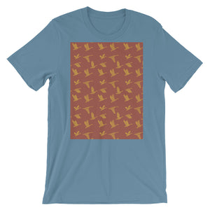 Flying Birds Pattern | Red | Short-Sleeve Unisex T-Shirt-t-shirts-Steel Blue-S-Eggenland