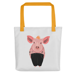 Cool Pig with Tattoos | Light Grey | Tote Bag-tote bags-Yellow-Eggenland