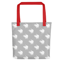 Load image into Gallery viewer, Cute Cat Pattern | Light Grey and White | Tote Bag-tote bags-Red-Eggenland