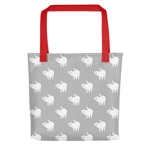 Cute Cat Pattern | Light Grey and White | Tote Bag-tote bags-Red-Eggenland