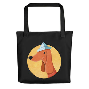 Dog with Paper Hat | Black | Tote Bag-tote bags-Black-Eggenland