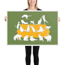 Load image into Gallery viewer, Cats Party | Illustration | Green | Framed Poster-framed posters-White-24×36-Eggenland