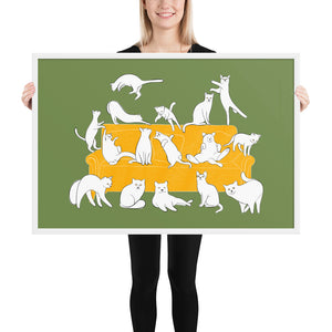 Cats Party | Illustration | Green | Framed Poster-framed posters-White-24×36-Eggenland