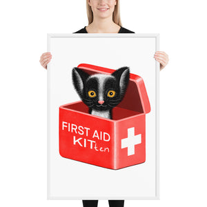First Aid Kitten | Illustration | Framed Poster-framed posters-White-24×36-Eggenland