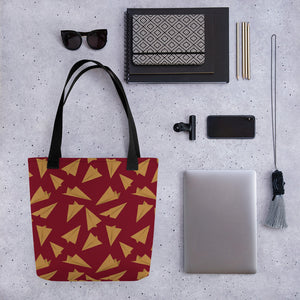 Paper Planes Pattern | Red and Golden | Tote Bag-tote bags-Eggenland