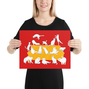 Cats Party | Red | Poster-posters-12×16-Eggenland