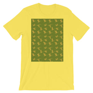 Flying Birds Pattern | Green | Short-Sleeve Unisex T-Shirt-t-shirts-Yellow-S-Eggenland