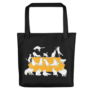 Cat Party | Black | Tote Bag-tote bags-Black-Eggenland