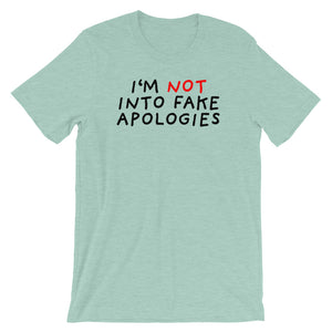 Fake Apologies | Short-Sleeve Unisex T-Shirt-t-shirts-Heather Prism Dusty Blue-S-Eggenland