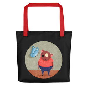 Bear and Butterfly | Black | Tote Bag-tote bags-Red-Eggenland