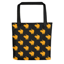 Load image into Gallery viewer, Yellow Cat Pattern | Black | Tote Bag-tote bags-Black-Eggenland
