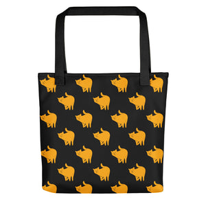 Yellow Cat Pattern | Black | Tote Bag-tote bags-Black-Eggenland