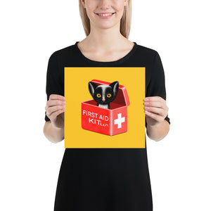 First Aid Kitten | Illustration | Yellow | Poster-posters-10×10-Eggenland