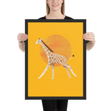 Load image into Gallery viewer, Giraffe and Sun | Illustration | Yellow | Framed Poster-framed posters-Black-18×24-Eggenland