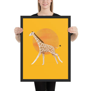 Giraffe and Sun | Illustration | Yellow | Framed Poster-framed posters-Black-18×24-Eggenland