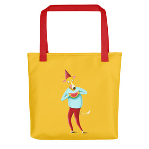 Dog with Watermelon | Yellow | Tote Bag-tote bags-Red-Eggenland
