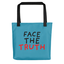 Load image into Gallery viewer, Face the Truth | Blue | Tote Bag-tote bags-Black-Eggenland