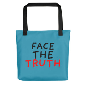 Face the Truth | Blue | Tote Bag-tote bags-Black-Eggenland
