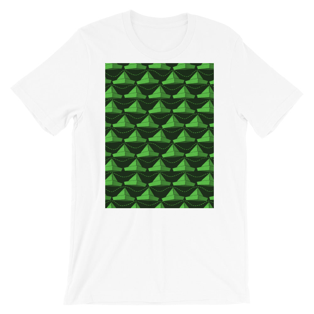 Paper Hats Pattern | Green | Short-Sleeve Unisex T-Shirt-t-shirts-White-S-Eggenland