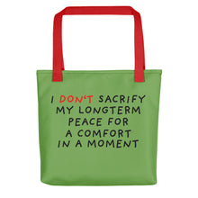 Load image into Gallery viewer, No Sacrifice | Green | Tote Bag-tote bags-Red-Eggenland