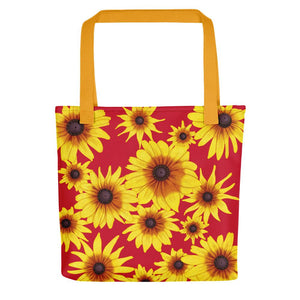 Blooming Flowers | Red | Tote Bag-tote bags-Yellow-Eggenland