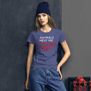 Animals Help Me | Women's Short-Sleeve T-Shirt-t-shirts-Eggenland