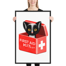Load image into Gallery viewer, First Aid Kitten | Illustration | Framed Poster-framed posters-Black-24×36-Eggenland
