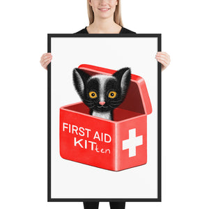 First Aid Kitten | Illustration | Framed Poster-framed posters-Black-24×36-Eggenland