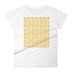 Flying Birds Pattern | Yellow | Women's Short-Sleeve T-Shirt-t-shirts-White-S-Eggenland