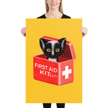 Load image into Gallery viewer, First Aid Kitten | Illustration | Yellow | Poster-posters-24×36-Eggenland