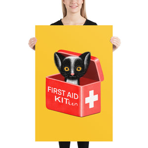 First Aid Kitten | Illustration | Yellow | Poster-posters-24×36-Eggenland