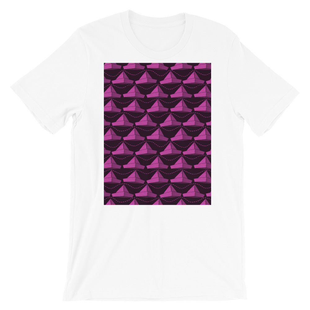 Paper Hats Pattern | Dark Pink | Short-Sleeve Unisex T-Shirt-t-shirts-White-S-Eggenland
