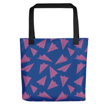 Load image into Gallery viewer, Paper Planes Pattern | Blue and Purple | Tote Bag-tote bags-Black-Eggenland