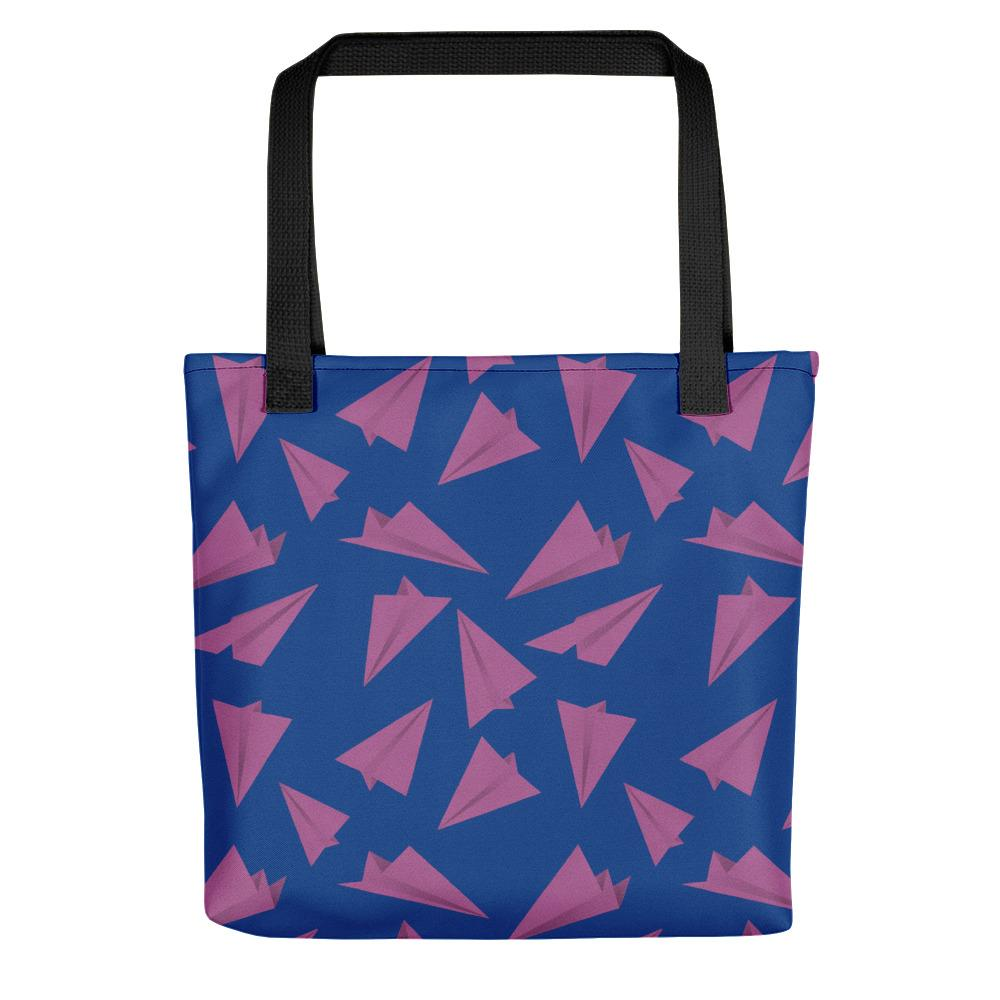 Paper Planes Pattern | Blue and Purple | Tote Bag-tote bags-Black-Eggenland