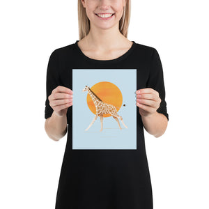 Giraffe and Sun | Blue | Poster-posters-8×10-Eggenland