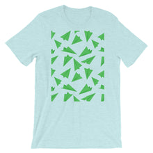 Load image into Gallery viewer, Paper Planes Pattern | Green | Short-Sleeve Unisex T-Shirt-t-shirts-Heather Prism Ice Blue-S-Eggenland