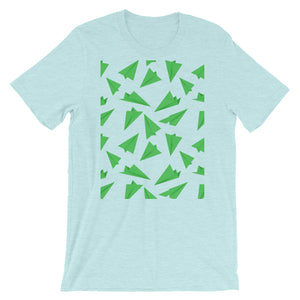 Paper Planes Pattern | Green | Short-Sleeve Unisex T-Shirt-t-shirts-Heather Prism Ice Blue-S-Eggenland