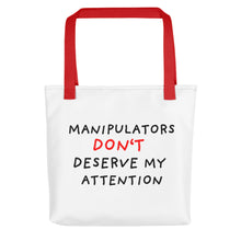 Load image into Gallery viewer, No Attention to Manipulators | Tote Bag-tote bags-Red-Eggenland
