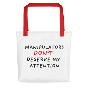 No Attention to Manipulators | Tote Bag-tote bags-Red-Eggenland