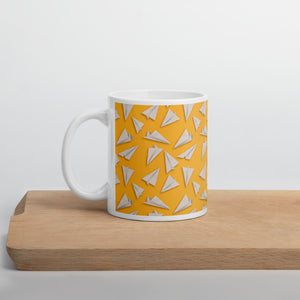 Paper Planes Pattern | Yellow | Mug-mugs-11oz-Eggenland