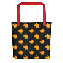 Load image into Gallery viewer, Yellow Cat Pattern | Black | Tote Bag-tote bags-Red-Eggenland