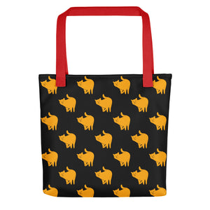 Yellow Cat Pattern | Black | Tote Bag-tote bags-Red-Eggenland