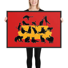 Load image into Gallery viewer, Black Cats Party | Red | Illustration | Framed Poster-framed posters-Black-24×36-Eggenland