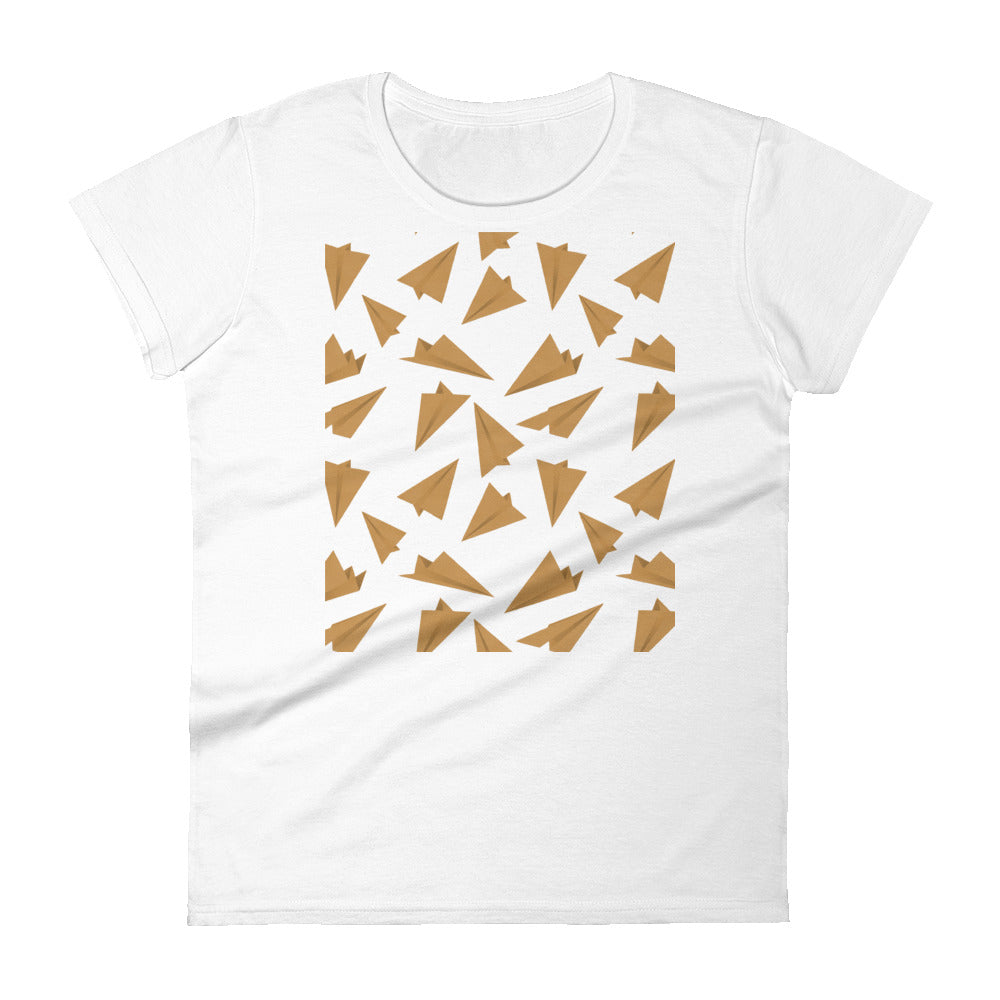 Paper Planes Pattern | Golden | Women's Short-Sleeve T-Shirt-t-shirts-White-S-Eggenland